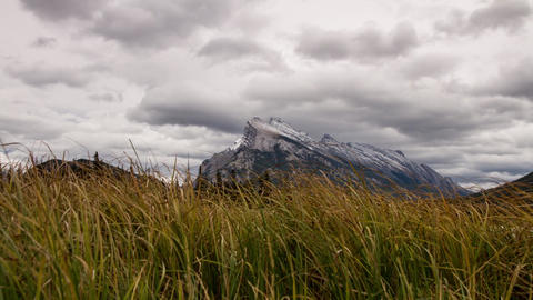 Dolly shot of Mt. Rundle at Vermillion Lakes Stock Video Footage