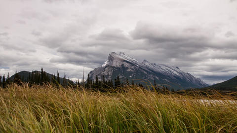 Dolly shot of Mt. Rundle at Vermillion Lakes Footage