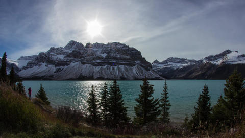 Cloudy day at Bow Lake Footage