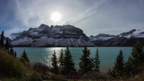 Cloudy day at Bow Lake Stock Video Footage