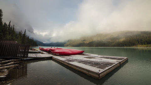 Cloudy morning at Lake Louise by the dock Stock Video Footage