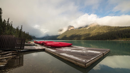 Cloudy morning at Lake Louise by the dock Footage