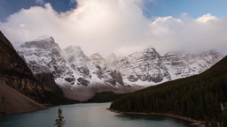 Moraine Lake morning fog Stock Video Footage