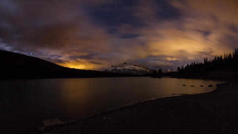 Two Jack Lakes night clouds Stock Video Footage