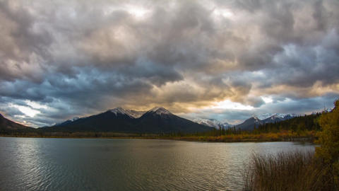 Cloudy Vermillion Lakes at Sunset time Stock Video Footage