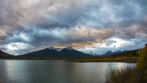 Cloudy Vermillion Lakes at Sunset time Footage