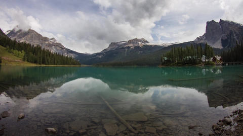 Emerald Lake on a cloudy morning Footage