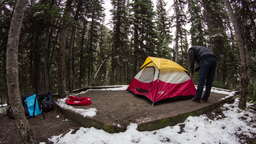 Time lapse of camper setting up tent Stock Video Footage