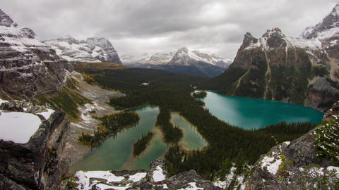 Cliff view at Lake O'Hara with clouds and rain Stock Video Footage