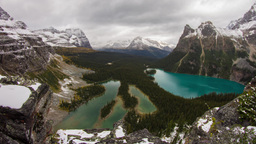 Cliff view at Lake O'Hara with clouds and rain Footage