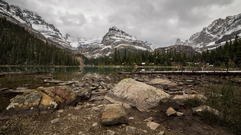 Lake O'Hara with sunlights Stock Video Footage