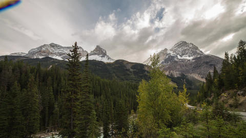 Cloudy day at the Rocky Mt. with bugs on lens Stock Video Footage