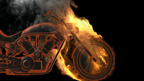 chopper bike in fire. Alpha matted Stock Video Footage