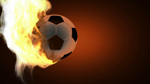 burning soccer ball. Alpha matted Stock Video Footage