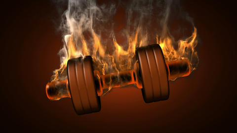 burning dumbbell. alpha matted Animation