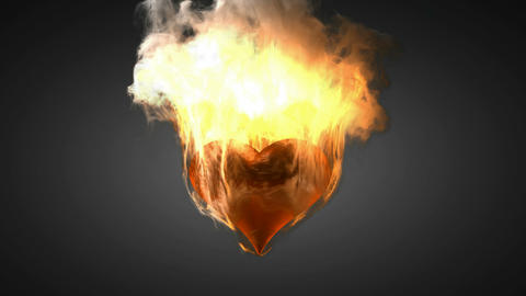burning heart. Alpha matted Stock Video Footage