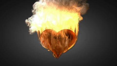 burning heart. Alpha matted Animation