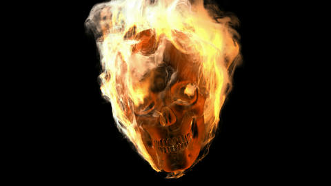 burning skull. Alpha matted Animation