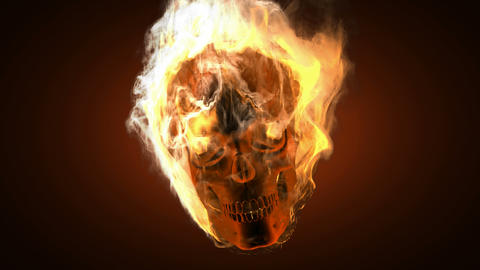 burning skull. Alpha matted Stock Video Footage