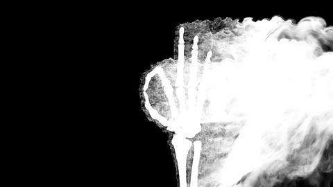 burning skeleton OK sign. Alpha matted Stock Video Footage