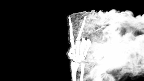 burning skeleton Peace sign. Alpha matted Stock Video Footage