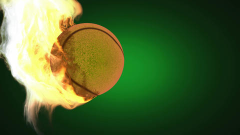 burning tennis ball. Alpha matted Animation