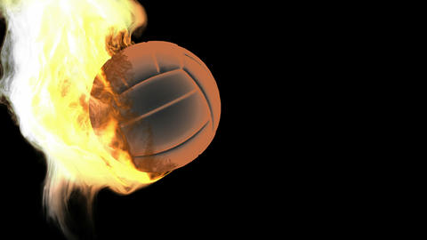burning volleyball ball. Alpha matted Stock Video Footage