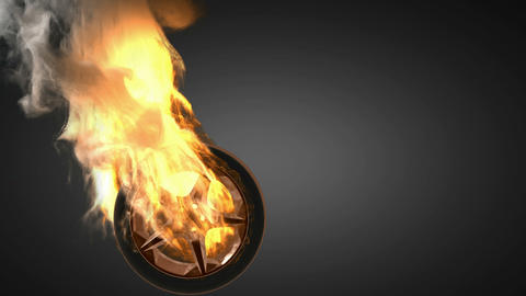 burning wheel. Alpha matted Animation