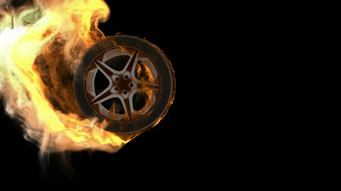 burning wheel. Alpha matted Stock Video Footage