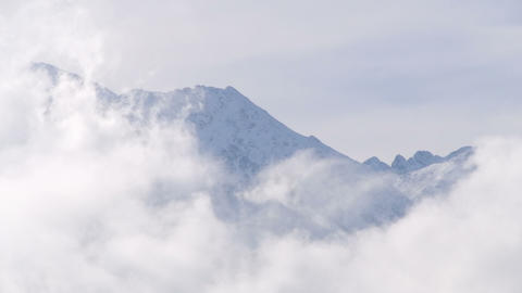 Top of the mountain in the clouds Stock Video Footage