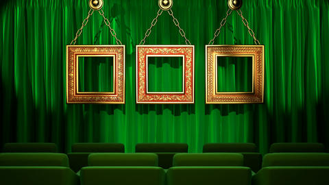 Loop light on green fabric curtain Animation