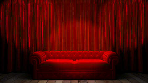 Loop light on red fabric curtain Animation