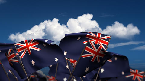 Waving Australian Flags Stock Video Footage