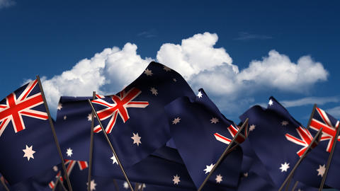 Waving Australian Flags Animation