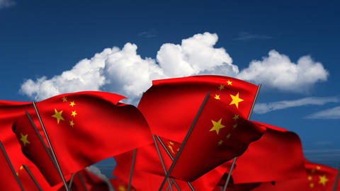 Waving Chinese Flags Stock Video Footage