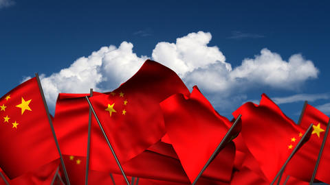 Waving Chinese Flags Animation