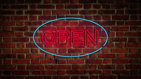 Flickering Open Sign Stock Video Footage