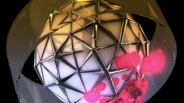 sci-fi ribbon surround metal tech digital ball & f Stock Video Footage
