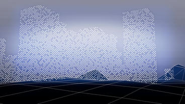 Virtual data matrix on grid Mountain hill.high-tech gps navigation interface Animation
