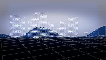 Virtual data matrix on grid Mountain hill.high-tech gps... Stock Video Footage