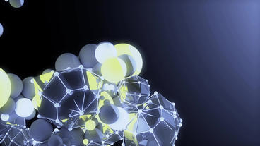 sci-fi polyhedron & balls,music background,tech... Stock Video Footage