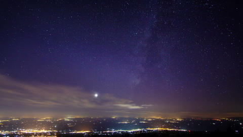 Sunset and the Milky Way over Sicily. Time Lapse. Stock Video Footage