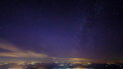 Sunset and the Milky Way over Sicily. Time Lapse.  Footage