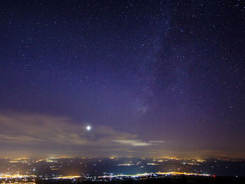 Sunset and the Milky Way over Sicily. Time Lapse Stock Video Footage