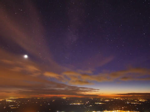 Sunset and the Milky Way over Sicily. Time Lapse Footage