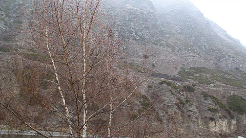 Snowfall is in the mountains Stock Video Footage