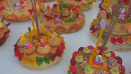 Vendor Prepping Bread Krathong's For Sale at the L Stock Video Footage