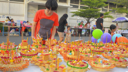 Colorful Krathongs Laid Out To Sell at the Loi Kra Footage