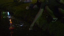 Young Thai Woman Praying During Loi Krathong Festi Footage