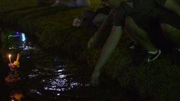 Young Thai Woman Praying During Loi Krathong Festi Stock Video Footage